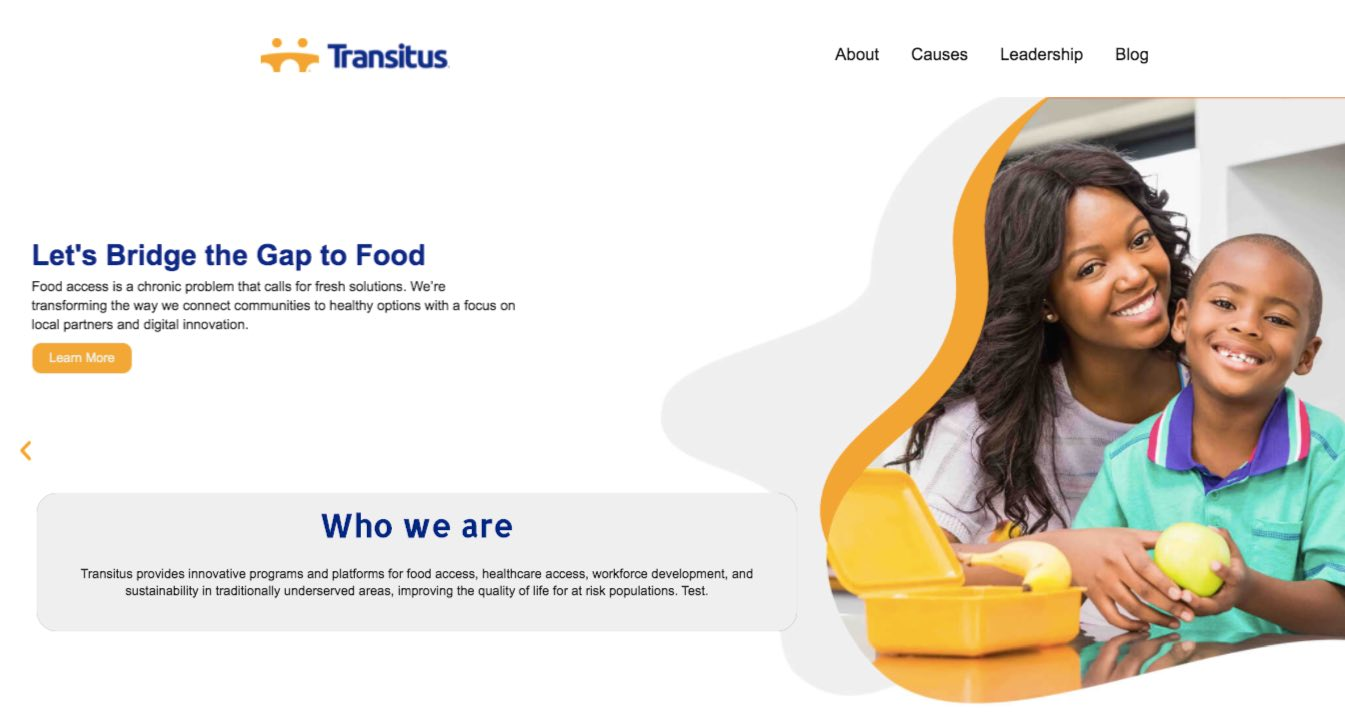 Transitus Landing Page